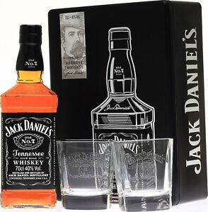 Jack Daniels No.7 Whiskey Set mit 2 Gläsern in Metalldose  40% Vol./ 0,7 Liter