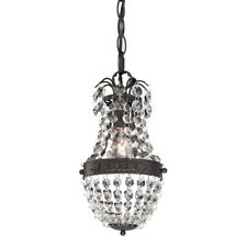 Elk Home Camborne 1-Light Mini Pendant, Clear Crystal w/Bronze Banding - 122-016