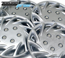 """4pc Qty 4 Pop On Wheel Cover Rim Skin Cover, 14"""" Inch #B009 Hubcap Silver"""