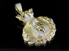 "10K Two Tone Genuine Diamond Crest Dollor Money Bag Pendant Charm 7/10 Ct 1.75"""