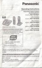 Panasonic Expandable Digital Cordless Owners Manual Models KS-TG1031-1035 OEM