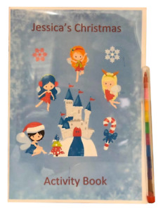Personalised Princess Christmas Eve Activity Colouring Pack Book Stocking Filler