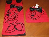 Disney Store Minnie Mouse Kids Girls Scarf Hat polka Dot Red Black Set NEW