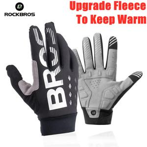 ROCKBROS Bicycle Gloves Warm SBR Touchscreen Windproof Full Finger Bike Gloves