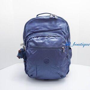 NWT Kipling BP4160 Seoul XL Backpack Laptop Travel Bag Scuba Diver Blue Metallic