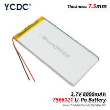 3.7V 8000mAh Li-Po Rechargeable Battery 7566121 For Tablet DVD GPS E-book MID 3