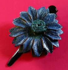 BARRETTE / PINCE A CHEVEUX CUIR FLEUR ARTISANAT bleu blue leather hair barrette