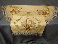 2pc Antique Hand Embroidered Basket Arts & Crafts Linen Tablecloth Runner Set