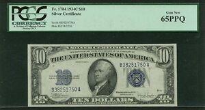 U.S. 1934-C  $10 SILVER CERTIFICATE BANKNOTE  FR-1704, CERTIFIED PCGS GEM 65-PPQ