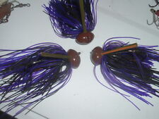 Custom Weedless Football Jig Lot Of 3 Pumpkin & Purple Craw 1 oz 5/0 Mustad LOOK