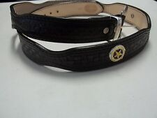 243 SIZE 46 BLACK SCALLOP WESTERN TROPHY BELT MADE BY BLUEHORN CUSTOM LEATHER