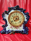 Ansonia 'Tribute' Signed Cobalt Blue Porcelain Clock With 8 Day Strike Movement