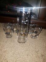 Vintage Bar Glasses. 5 Lowball & 1 Highball