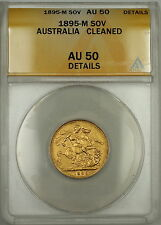 1895-M Australia Sovereign Gold Coin ANACS AU-50 Details Cleaned