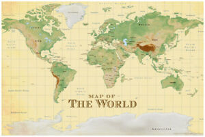 ProMaps Map of the World Vintage Style Sepia Art Print Poster 12x18 inch