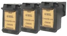 3x Remanufactured Ink Cartridges for HP 61XL Black CH563WA for Deskjet:1000,1050