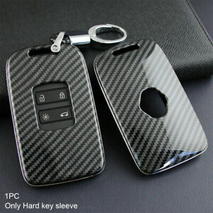for Renault Kadjar Megane Koleos Carbon Fiber Car Key Cover Fob Case Accessories