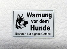 Warnung vor dem  Hunde,Hundeschild,Gravurschild,12 x 8 cm,Weiß,Schäferhund