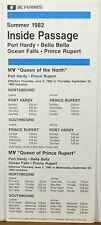 1982 Inside Passage BC Ferries Summer schedule brochure Port Hardy Prince Rupert