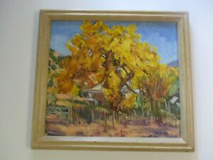 TOM HOLLAND PAINTING CHIMAYO NEW MEXICO LANDSCAPE IMPRESSIONIST MASTERFUL OIL