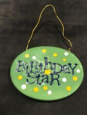 """Carlton Ceramic Birthday Tag """"Birthday Star"""" Painted with Wire Hanger"""