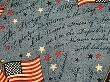 Fabric USA Flag Pledge of Allegiance on Blue Cotton by the 1/4 yard BIN