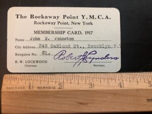 Rockaway New York YMCA Young Mens Christian Association 1917 Membership Card