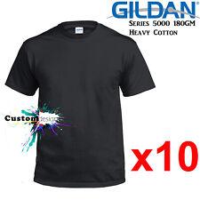 10 Packs Gildan Black T-SHIRT Basic Tee S - 5XL Men Heavy Cotton