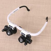 Double Eye Jewelry Watch Repair Magnifier Loupe Glasses w/ LED Light 2 Lens Kit