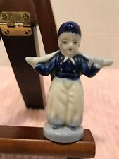 "Vtg Dutch Boy Figurine Delft Style Japan Blue White China Dutch Boy 4 1/4"" Tall"