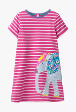 NEW Stunning Ex Mini Boden Pink Stripe Elephant Applique Dress - Age 2 to 10 Yrs