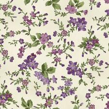 Merideth Purple Lavender Ivory Floral Shabby Rose Quilt Fabric Panel 18760-15