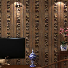 Vintage Nature Realistic Cobblestone/Stones Wooden Plank Dark Coffee Wallpaper