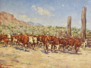 Cowboys Driving Cattle; Original American Western Oil Painting; Peter Slaughter