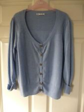 M&S Autograph 100% Cashmere Pale Blue cropped 3/4 sleeve cardigan 14-16