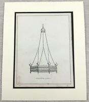 1859 Print Medieval Gothic Chandelier Light Fitting Cast Iron Original Antique
