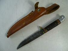 "Vintage Fixed Blade Hunting Knife Western USA Leather Sheath 8.5"" Long Retro Old"