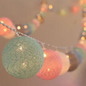 2m Fairy Cotton Balls String Light For Kids Room Christmas Wedding Decorations