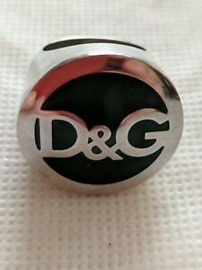 D&G  AUTHENTIC DOLCE & GABANA SEAL RING SILVER/GREEN  STATEMENT PIECE