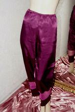 SATIN Glanz Pyjama-Hose * Negligee - Hose aubergine glatt mit Spitze 44/46