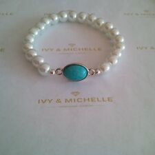 Glass Pearl White Beaded Bracelet With Turquoise Oval Connector