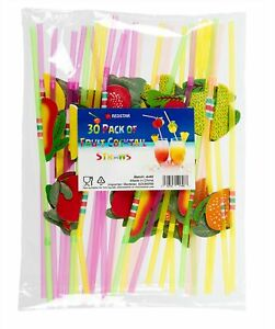 30 COCKTAIL FRUIT UMBRELLA STRAWS 3D HAWAIIAN PARTY TROPICAL BEACH BAR ASSORTED