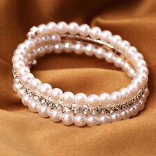 2 Rows White Popular Bangle Bracelet For Women Faux Pearls Rhinestone Stretch