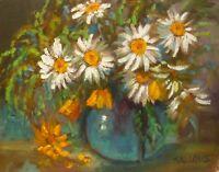 Daisies Original Art Oil Painting Texture Impressionism 11x14Still Life Sallows