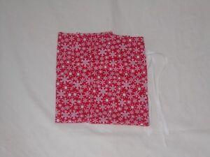 Set of 3 Sm Snowflake Christmas Design Homemade Fabric Gift Bag