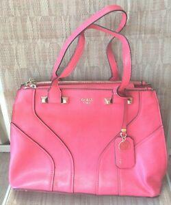 GUESS 1981 Dark Pink Large Big Handbag Women's Bag Multiple Compartments