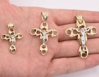Men's Puffed Gucci Crucifix Jesus Pendant Charm Real 10K Yellow White Gold