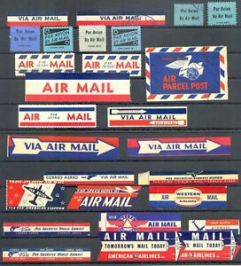 USA - AVIATION -AIR MAIL -COLLETION -150 x DIF LABELS--VF -@ 17
