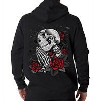 Day Of The Dead Skull Skeleton Praying Roses Gothic Hooded Sweatshirt Hoodie