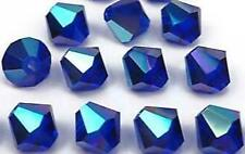 500pcs AB Saphire Blue Glass Crystal Bicone (12 Facets) 4mm Bead